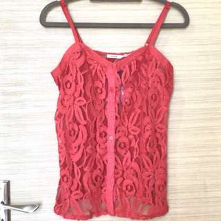 New Urban Outfitters Red Lace Camisole - Small