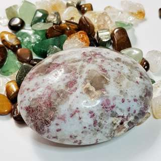 Red / Rubellite Tourmaline Palm Stone for Relieving Stress / Worry / Depression