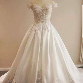 Customised satin wedding dress