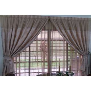 Two Tier Beige Coloured Curtain Set