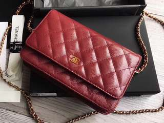 【Chanel wallet on chain】 red caviar with gold hardware