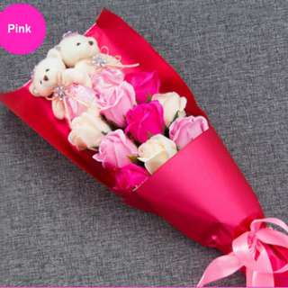 TEDDY BEARS PLUSH BOUQUET SCENTED BOUQUET PINK
