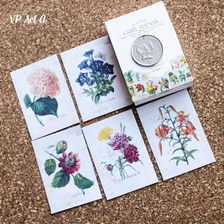 5pcs Vintage Flowers Sticker Sample Set A