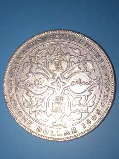 Straits Settlement KE Silver Coin One Dollar Year 1908