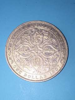 Straits Settlement KE Silver Coin One Dollar Year 1907H Sale30%