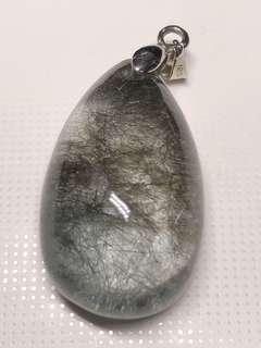 Silver Rutilated quartz pendant 银发晶吊坠
