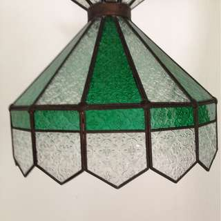Dutch colonial antique coloured glass lamp