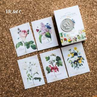 5pcs Vintage Flower Sticker Sample Set C