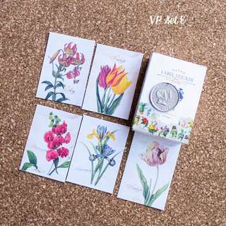 5pcs Vintage Flower Sticker Sample Set E