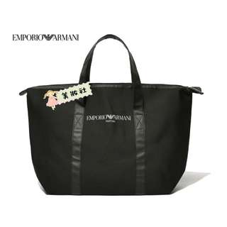 【EMPORIO ARMANI 】太空棉 拉鍊Tote bag:黑色 ( $120 - 包順豐 )