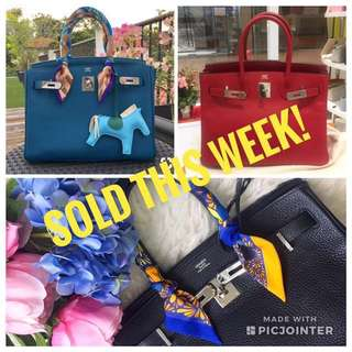 Hermes Birkins! 3 Sold in the last week. The others selling fast as well!