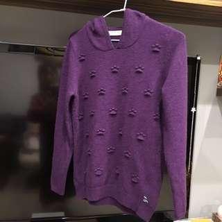 🚚 A la sha 深紫色熊帽T羊毛毛衣