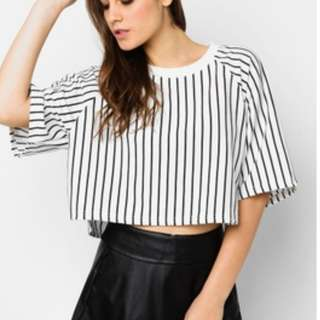 Something Borrowed Striped Cropped Tee