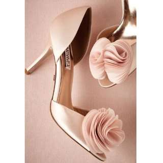 Badgley Mischka Satin Blush Pink Open Toe Wedding Shoes with Floral Embellishments