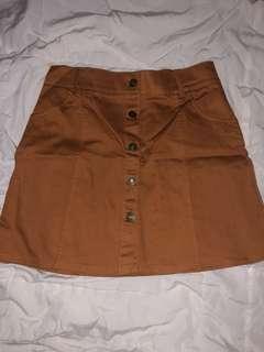Rust Brown Button-Up Skirt