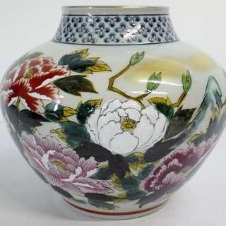 🚚 【日本花道具 九谷焼 陶光 色絵金彩 牡丹圖 花器 花瓶】