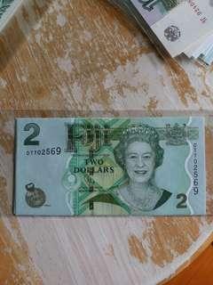 UNC 全新 2012年 斐济2元 (号碼隨意)