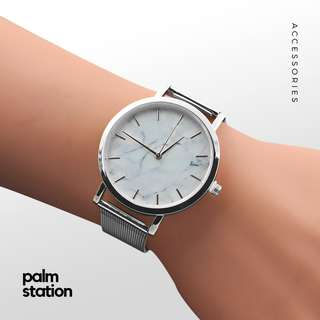 Silver with White Marble Watch [Pre-Order]