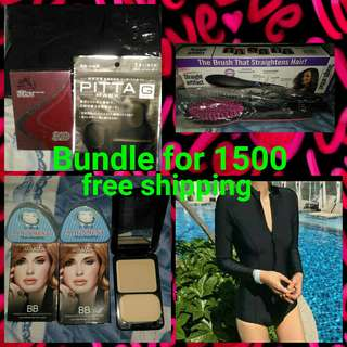 👉zipper swimsuit 👉simply straight👉pitta mask👉2 pcs teeth trainer alignment👉2 pcs revlon BB👉nose 3D👉1500 only free shipping