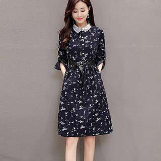 Peter Pan Collar Floral A-Line Dress