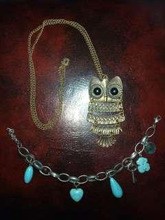 Kalung owl gelang antik cocok untuk fotografi masih bagus harga ini ambil semua yanh di foto ya