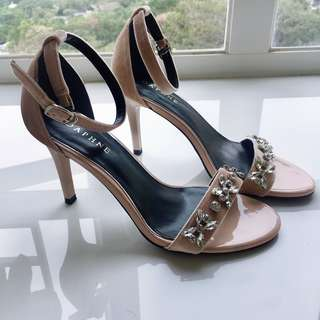 Nude Wedding Shoes Heeled Sandals With Crystal-beaded Embellishments