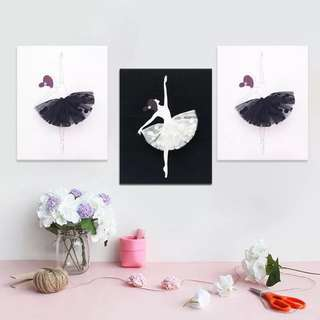 3 pcs Nordic Ballet Girl Art Home Decor Wall Painting