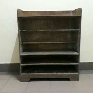 LELONG vintage wooden shoe rack w curtain