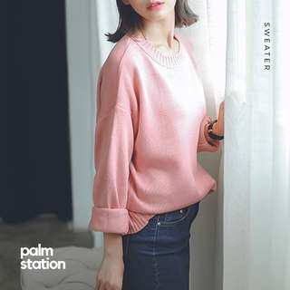 [Ready Stock] Knitted Pink Sweater