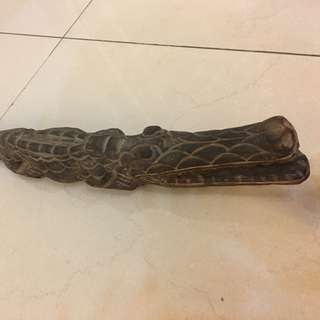 Twin Crocodile wood craving statute (2pcs)