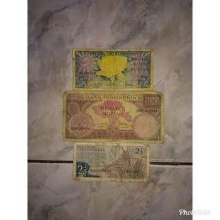 Uang kuno 💯 rupiah,5 rupiah,2½ rupiah