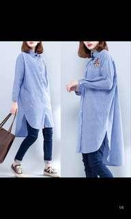 Ladies Plus Size Large size stripes long shirt female long sleeve Korean loose casual wild shirt
