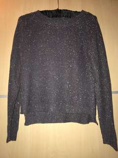 unbranded dark grey sparkly cable knit sweater