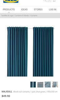 (REDUCED) MAJGULL IKEA Blue-green Block-out curtains