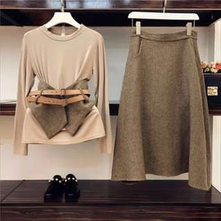 PO - Solid Color Elegant Long Sleeve Basic Tops + Ultra Long Skirt Female Skirt Suits with Belt (2pc set)