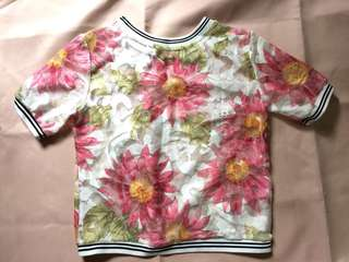 Floral see through ringer tee
