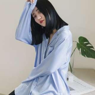 Soulsis 水藍緞面襯衫