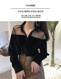 Korean single-breasted velvet Slim long-sleeved shirt female lapel