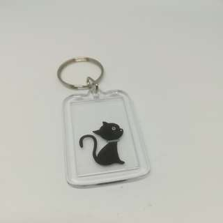 Double face black cat look sky keychain