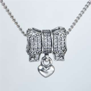 Code SS741 - Love Heart Bow Ribbon 100% 925 Sterling Silver Charm, Chain Is Not Included, Compatible With Pandora