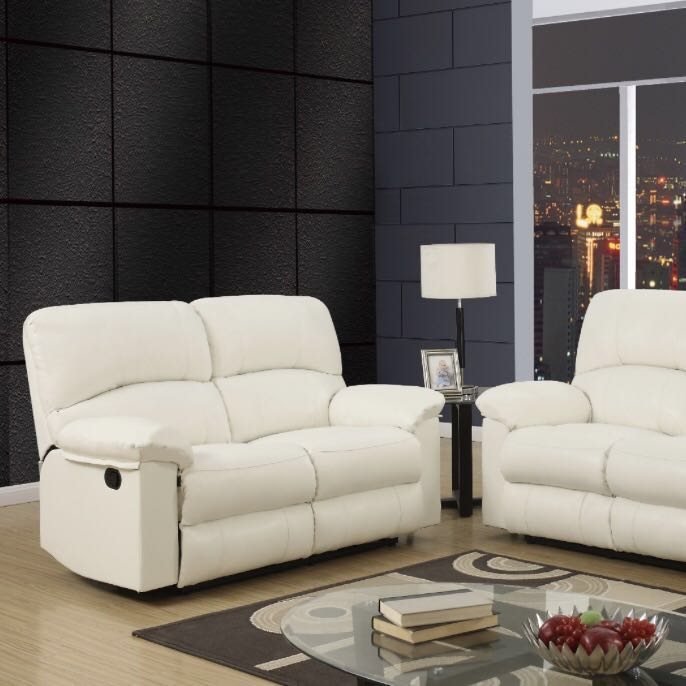 2 Seat Off White Reclining Sofa Half Leather Furniture Sofas On