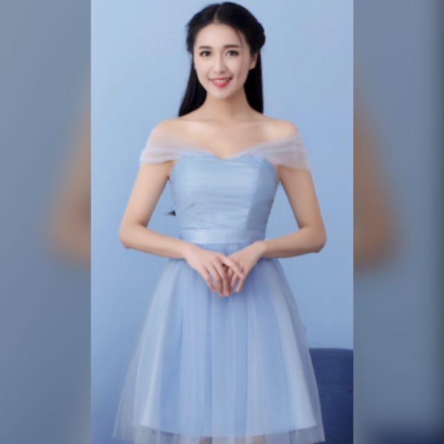 天藍色雪紡紗小禮服