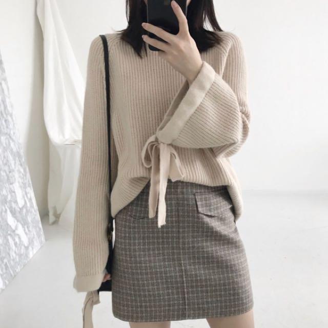 寬袖針織毛衣