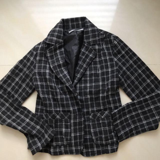 格紋毛料西裝外套
