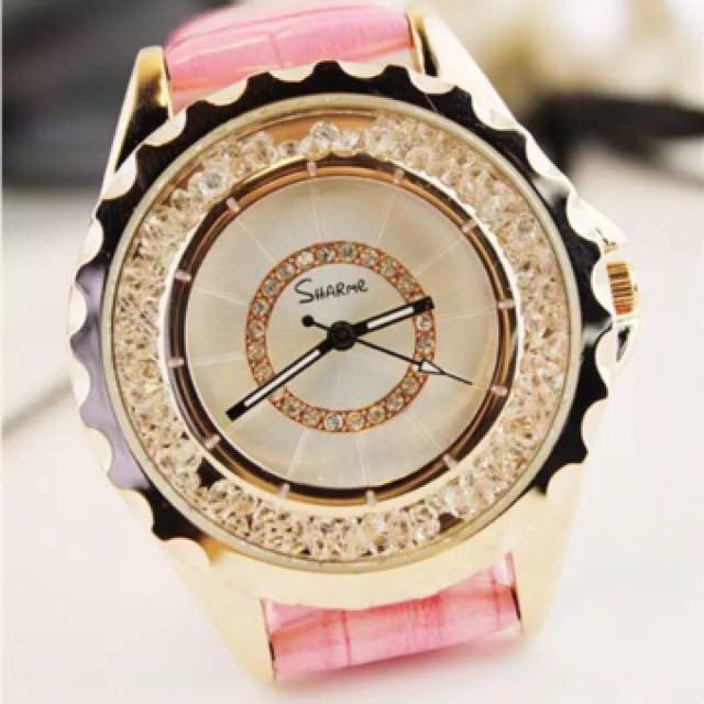 韓國時尚水鑽真皮手錶  出清