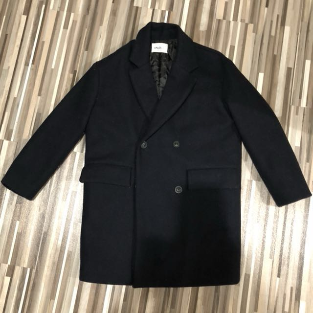 《降價!》韓國 超保暖鋪棉深藍色大衣
