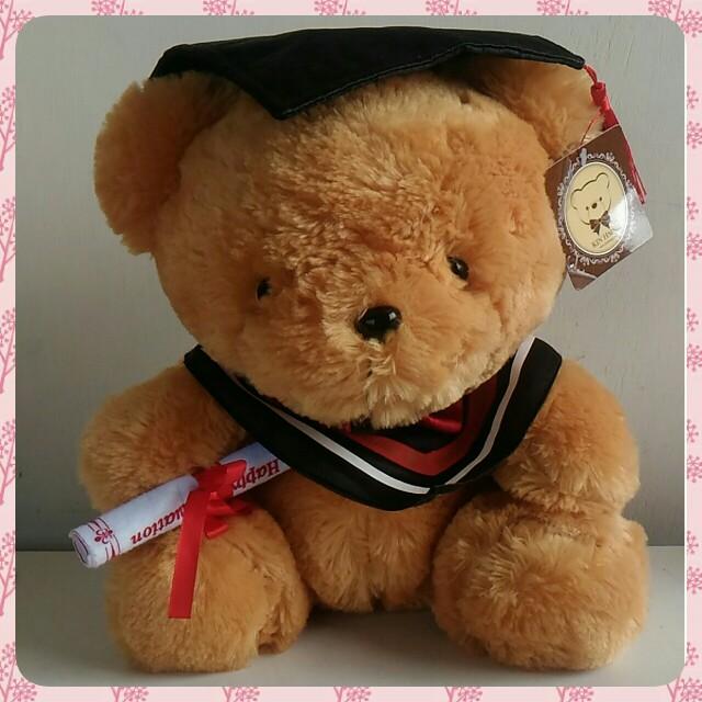 🆕全新 絨毛畢業熊 學士服 小熊玩偶 抱枕 娃娃
