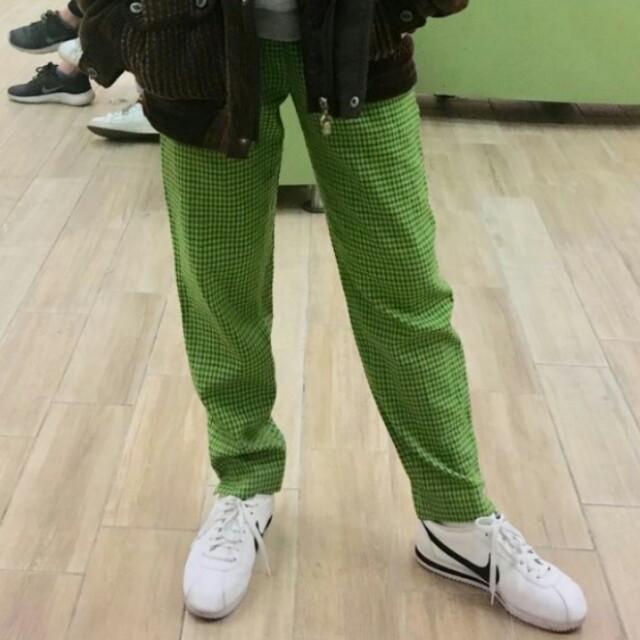 (代售)綠色格子格紋褲 古著 vintage