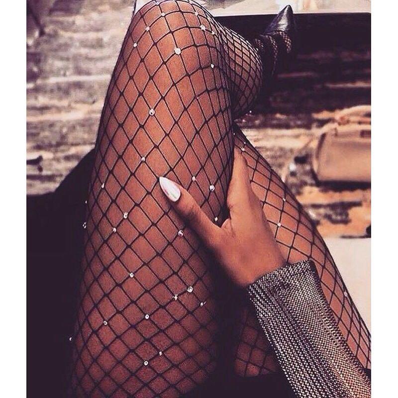📬💌 Crystal Rhinestone Fishnet Stockings