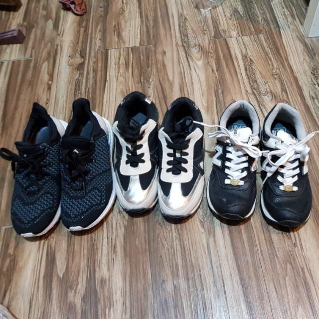三雙一起賣 New balance, ultra boots, 正韓增高鞋,35-36